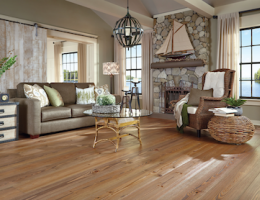 Carlisle's new collection of wood flooring is made from 9-inch wide heart pine.