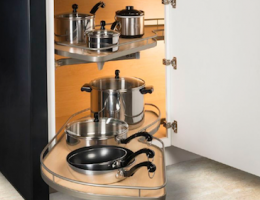 Hafele America's Loox line of LED lights offers Interior cabinet lighting to help illuminate deep cabinets such as this one.