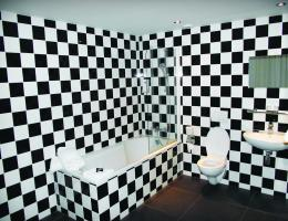 An entry in Custom Design & Construction, a remodeling company, ugly bathroom contest