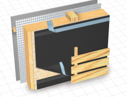 Cosella-Dorkin Delta-Fassade S water-resistive barrier is designed for use in cladding systems that have open joints of up to 2 inches wide.