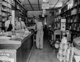Photo of old-time hardware store interior