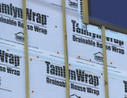 TamlynWrap's patented gap design removes more bulk (liquid) water from a wall than flat housewrap, the manufacturer says.