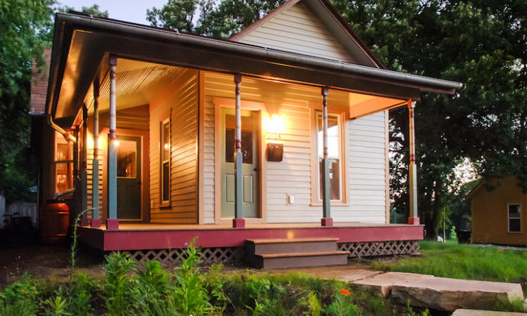 Street view of remodeled Victorian bungalow.
