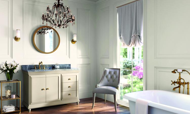 a bathroom remodeled with gold