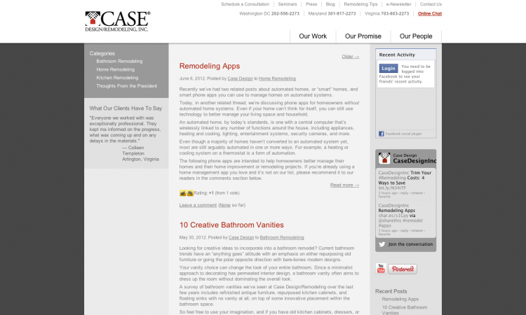 Case Design/Remodeling has generated leads and greatly improved SEO through usin