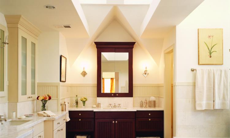 In this bathroom for a master suite addition to a tudor style home most