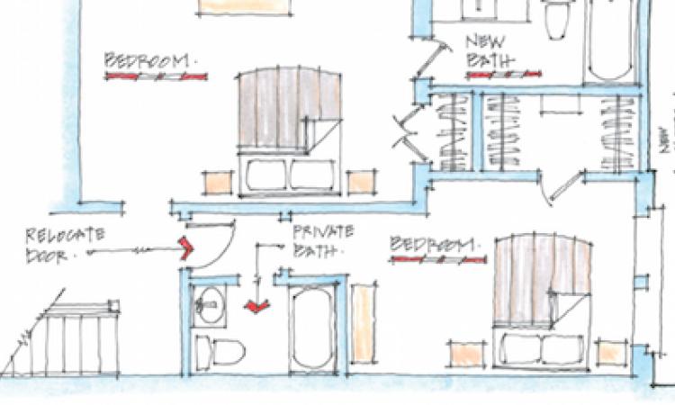 bathroom plan sketch by Bill Millholland