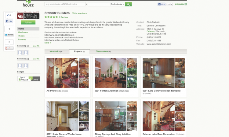 Houzz is accessed through an App that is downloadable to a smart phone or tablet