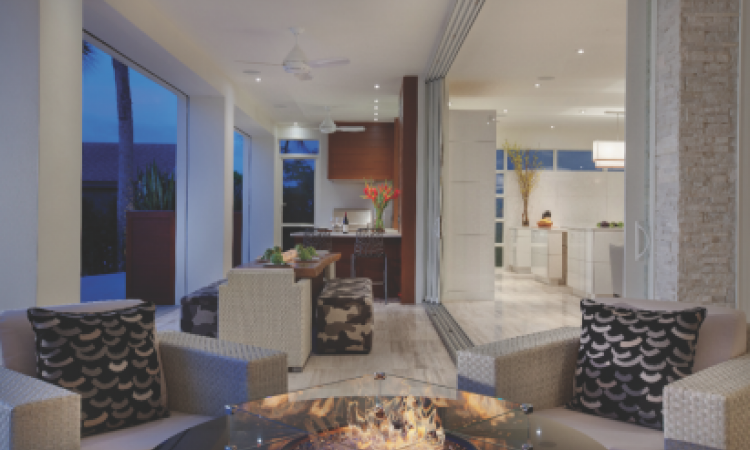 This refurbished space on the backside on the home opens to a spacious lanai via pocket sliding glass doors.