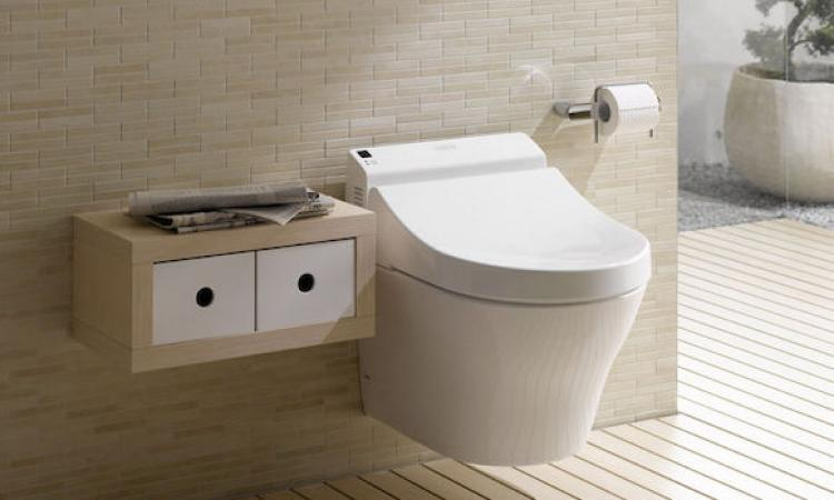 An example of a wall-hung toilet in a bathroom, providing a clean, simple aesthetic