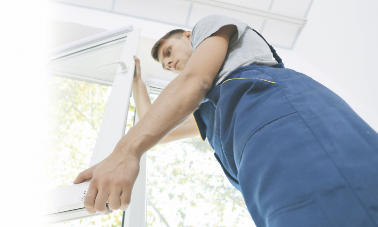 home improvement professional installing a window