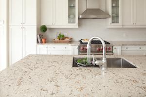 Cambria natural quartz countertop surfacing installed in a kitchen.