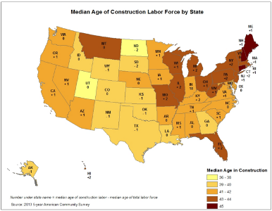 Map of U.S. construction workforce by age