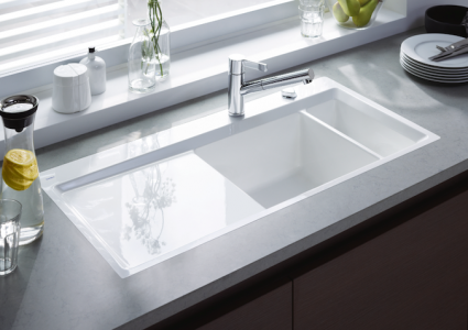 C Designed By Sieger Design Kiora Is A Straightlined Kitchen Sink With  2inchwide Frame Around The That Tapers Inward To Provide Splash Protection