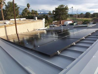 Solar panels on roof during construction